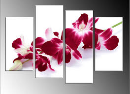 red orchid spray on white 4 panel split canvas wall art picture 40 inch 101cm on orchid canvas wall art with red orchid spray on white 4 panel split canvas wall art picture 40