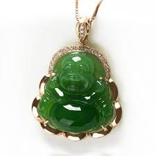 whole building natural jade green jade inlaid jade 18k gold diamond pendant inlaid jade buddha pendant genuine public choker necklace gold chains from