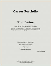 Cover Page Example For Resume Portfolio Sample Cover Page Refrence Portfolio Cover Page Example