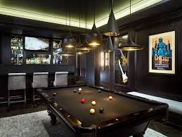 rustic man cave bar family room contemporary with pool table black pool table grey rug