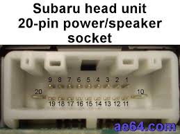 subaru 20 pin factory radio socket wtih pin numbers