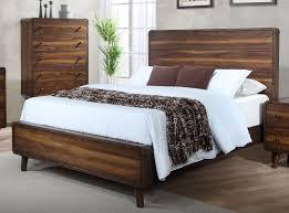 Mid-Century Modern Walnut Brown King Size Bed - Yasmin
