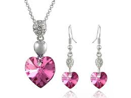sparkling heart 18kgp swarovski crystal necklace earrings set pink sapphire