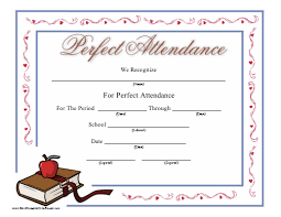 This Printable Certificate Honoring Perfect Attendance At School
