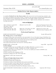 Medical Device Sales Resume Samples Entry Level Examples Rep