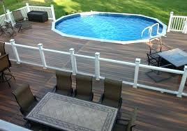 oval above ground pool with deck lounge and pictures of decks around