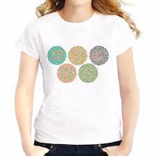 Us 6 58 48 Off Color Blind Test Chart T Shirts Feminina Summer Tops Tee Shirt Breathable Comfort Tshirt Short Sleeve Girls T Shirts Femme In
