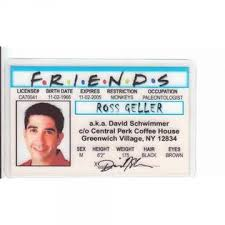 Aka Geller David Fake Signs4fun I Drivers Identification Schwimmer Central For Friends Ross License Of Novelty Fans By Perk d