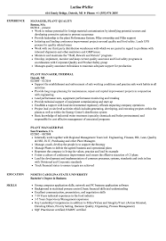 Manager Plant Resume Samples | Velvet Jobs