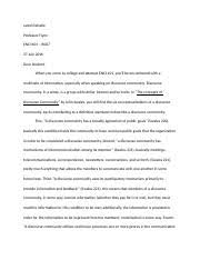 discourse community examples swales six characteristics of  2 pages discourse community assignment