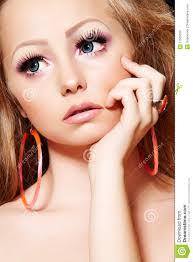 fashion model with doll make up long eyelashes