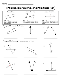 parallel intersecting and perpendicular lines