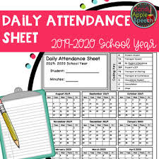 School Attendence Sheet Daily Attendance Sheet 2019 2020 School Year By Candy Apple