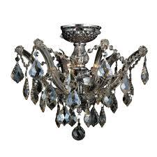 worldwide lighting bayou 3 light chrome semi flush mount light with golden teak crystal w33116c16 gt the home depot