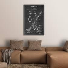 on multi panel canvas wall art uk with golf club patent bw canvas wall art elephantstock