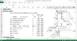 Retaining Wall Design Design Concrete Retaining Wall Spreadsheet Download Free