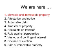 Topic 1 Movable And Immovable Property