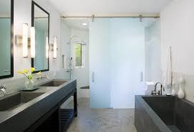 frosted glass sliding interior doors in the bathroom