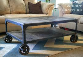 ... Grey Rectangle Pallet Wood DIY Industrial Coffee Table Designs With  Metal Wheels For Living ...