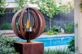 backyard garden sculptures metal art modern pool