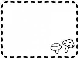 きのこと手書き風点線の白黒フレーム飾り枠イラスト 無料イラスト