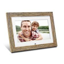 10 inch distressed wood digital photo frame with auto slideshow feature main image