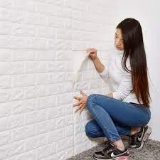 Self adhesive wallpaper white brick ...