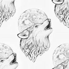 white wolf howling drawing. Unique Wolf Seamless Drawing Of A Wolf Howling At The Moon On White Background Stock  Photo And White Wolf Howling Drawing I