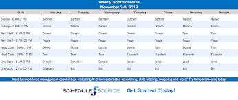 Shift Scheduling Excel Free Excel Work Schedule Templates Schedulesource