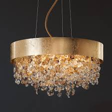 round gold leaf contemporary chandelier