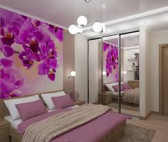 Purple Themed Bedroom Wall Sized Floral Print