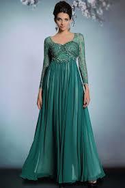 Vintage grün A Linie Bodenlang Chiffon Abendkleid mit lange Ärmeln ...