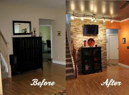 accent wall lighting. diy stone accent wall would love to do this with rustic brick veneer in my basement exposed ceilings painted metallic u0026 track lighting similar r