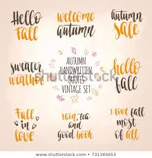 Autumn Quotes Best Autumn Quotes Vintage Lettering Set Fall Stock Vector Royalty Free