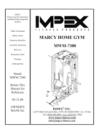 Impex Home Gym Exercise Chart Impex Mwm 7300 Home Gym User Manual Manualzz Com