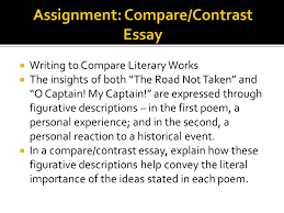 compare contrast essay  descriptive writing paints pictures  writing to compare literary works  the insights of both the road not taken and