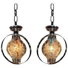 murano glass pendant lights pair