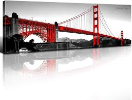 I have multiple extraordinary pieces on various mediums. Amazon Com Golden Gate Bridge Wall Art Decor San Francisco Black White Red Home Decor Canvas Print Modern Landscape Poster Artwork Pop Color Picture Painting Bedroom Living Room Decoration 14x48 Inch 1pcs Everything