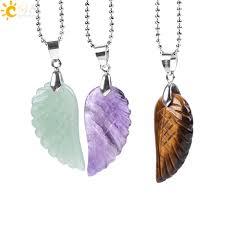 <b>CSJA Natural Gem Stone</b> Angel Wing Necklaces & Pendants Purple ...