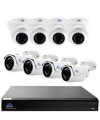 Black network video recorder with 4 white bullet cameras and dome Montavue 8 Channel home security system 4K Ultra HD NVR \u0026
