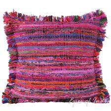 pink chindi colorful throw pillow couch sofa cushion boho rag rug bohemian cover 20