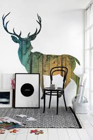Cool wall Mural Design with lighten Buffalo picture mural and white wall  colored paint plus black and white area rug along with white wood floor  material ...
