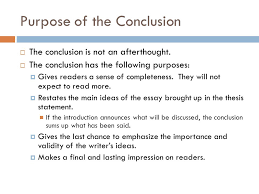 purpose of a conclusion in an essay co purpose