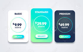 Vector Pricing Table Set Design For Business Price Plan Web