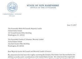 care of letter sununu sends letter of opposition over gop health care bill new