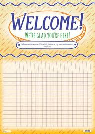Wall Chart Welcome Were Glad Youre Here