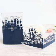 3d wedding invitations royal castle pumpkin coach laser cutting invite card blue pink white party supply customized printing indian wedding invitation