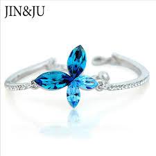 <b>JIN&JU</b> Crystal Bracelet Silver Color Adjustable Infinity Charm ...