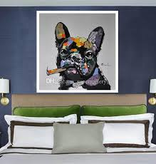 framed dog smoking a cigar handpainted modern abstract animals art oil painting home wall decor quality canvas muslti size can be customized by