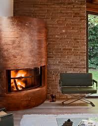 Modern round corner fireplace